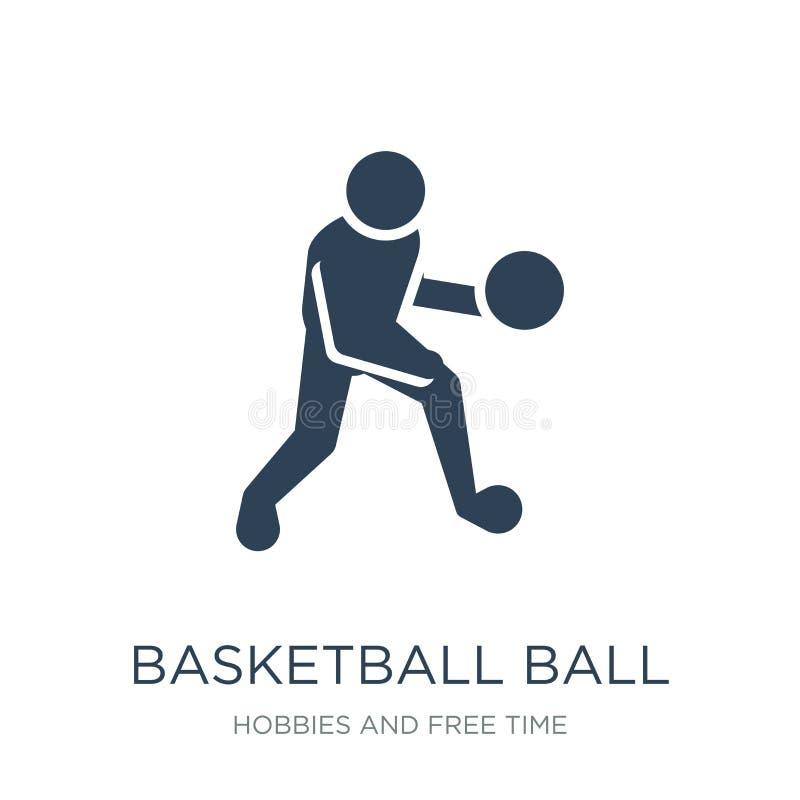 значок шарика баскетбола в ультрамодном стиле дизайна значок шарика баскетбола изолированный на белой предпосылке значок вектора  иллюстрация штока