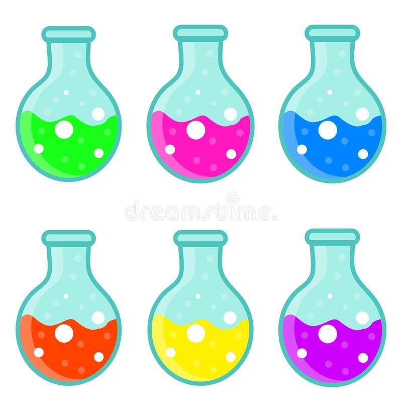 Значок шарика лаборатории установленный, плоский, стиль шаржа белизна изолированная предпосылкой также вектор иллюстрации притяжк бесплатная иллюстрация