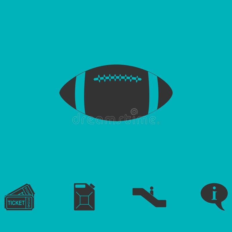 Значок шарика рэгби плоско иллюстрация штока
