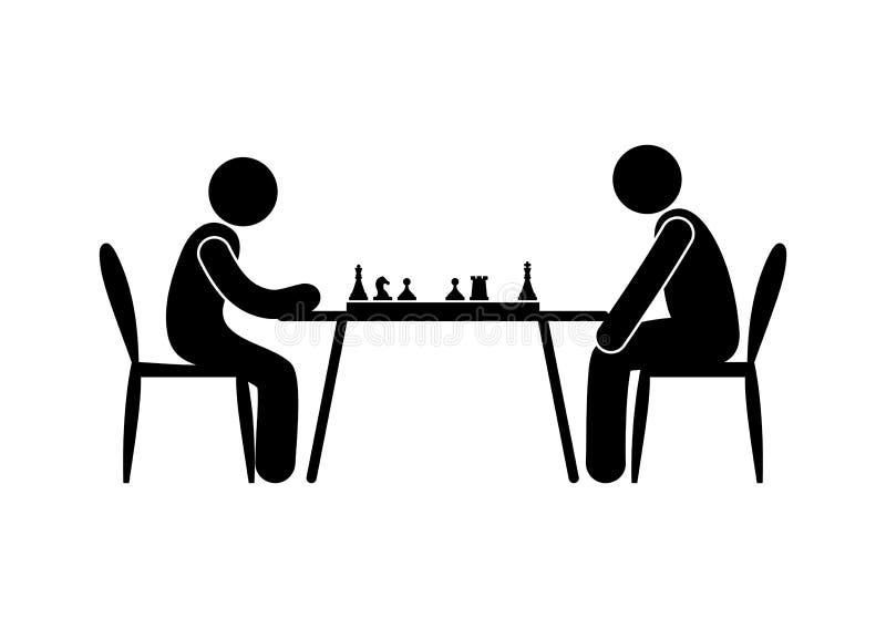 Значок шахматистов, иллюстрация поединка шахмат иллюстрация вектора