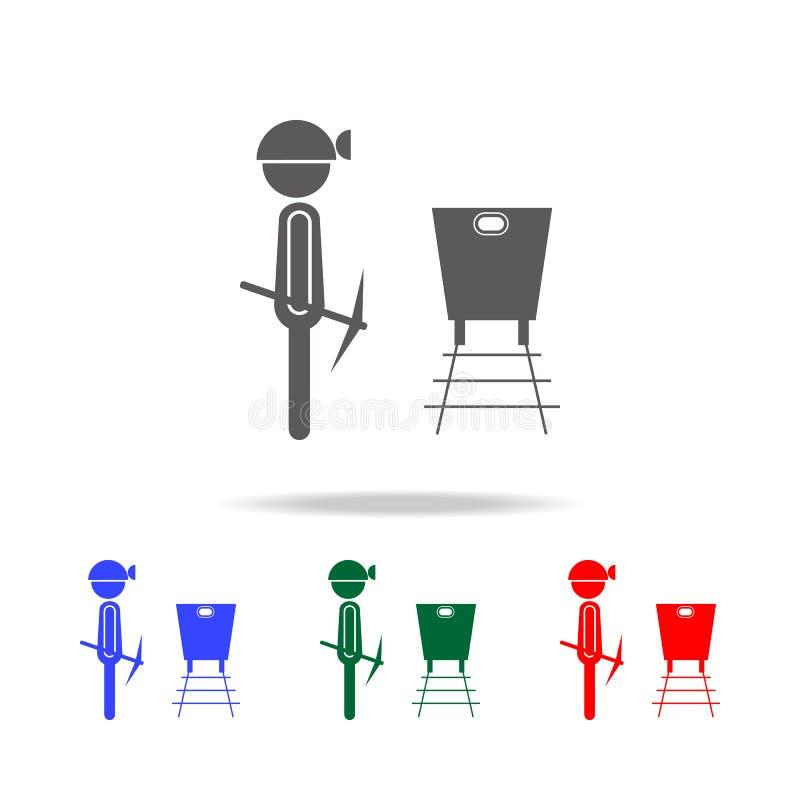 Значок шахтера Элементы профессии людей в multi покрашенных значках Наградной качественный значок графического дизайна Простой зн бесплатная иллюстрация