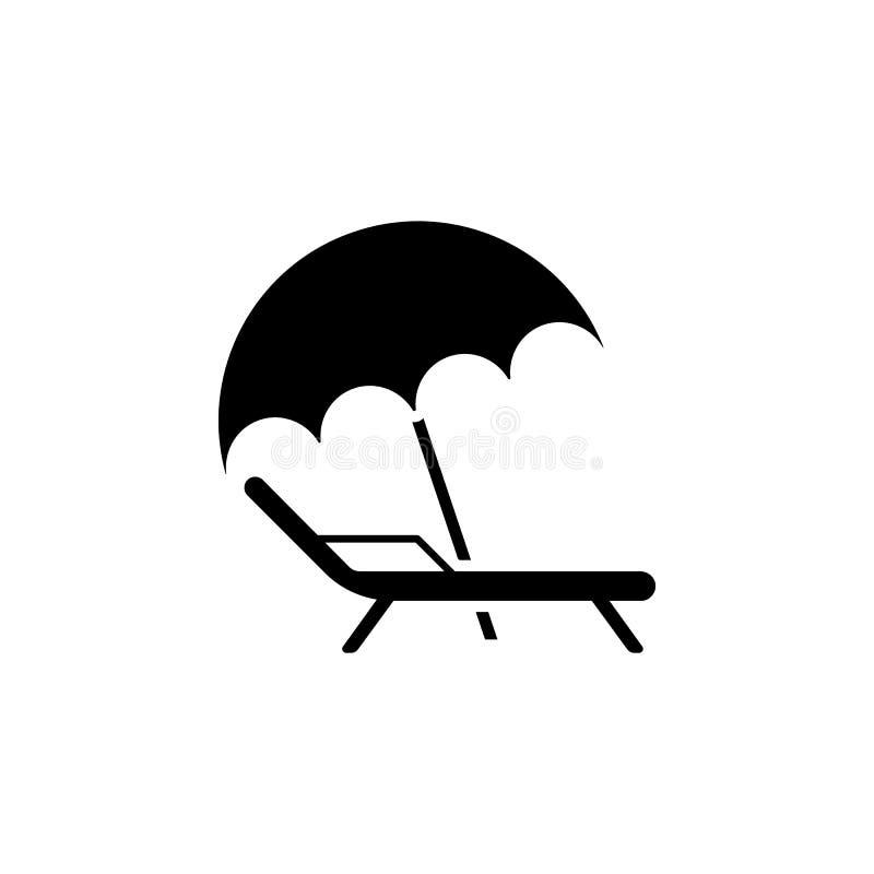 Значок шезлонга и зонтика икона ослабляет Значок шезлонга иллюстрация вектора