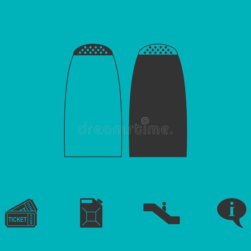Значок шейкеров соли и перца плоско иллюстрация штока