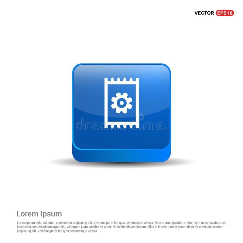 Значок шестерни - кнопка сини 3d бесплатная иллюстрация