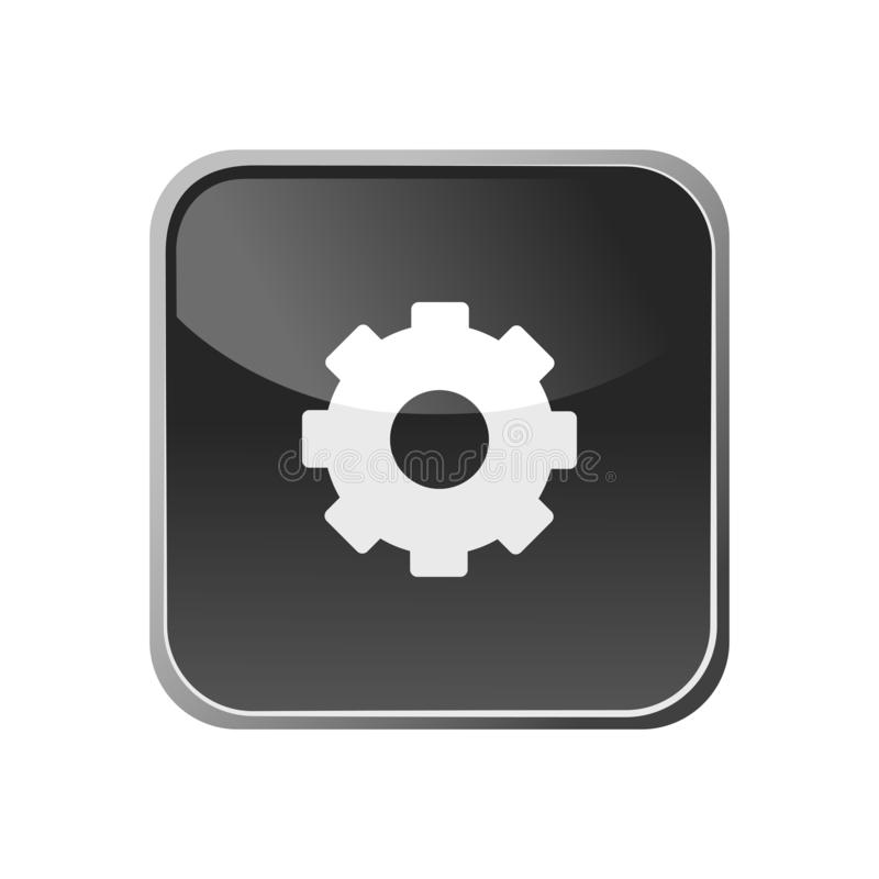Значок шестерни на квадратной кнопке иллюстрация штока