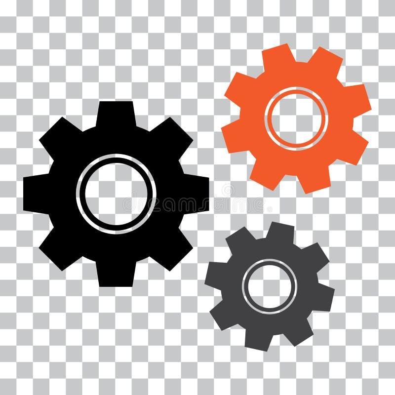 Значок шестерни Покрашенный механизм r иллюстрация штока