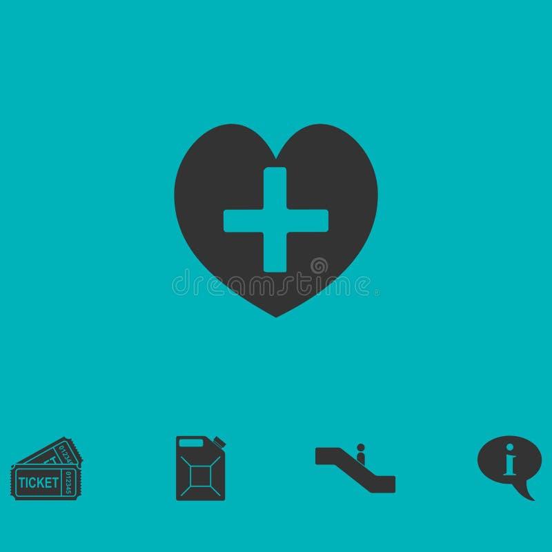 Значок шестка здоровья перекрестный плоско иллюстрация штока