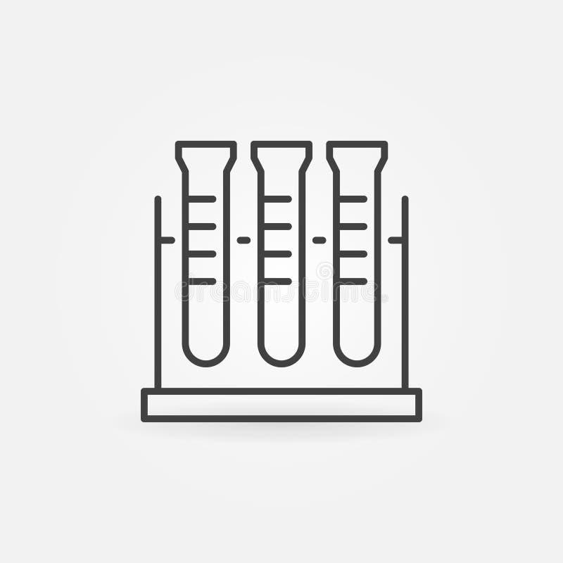 Значок шкафа пробирки линейный Символ концепции химии вектора иллюстрация штока