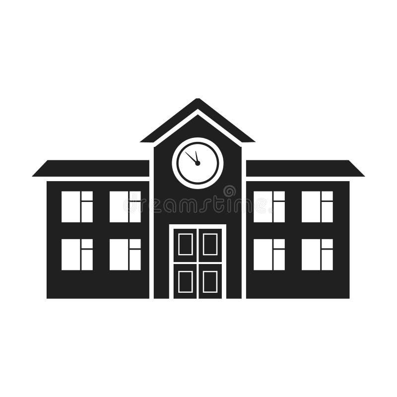 Значок школы в черном стиле на белой предпосылке Иллюстрация вектора запаса символа здания иллюстрация штока