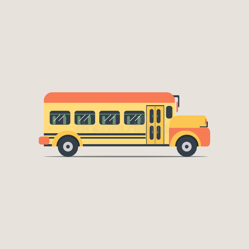 Значок школьного автобуса плоский иллюстрация вектора