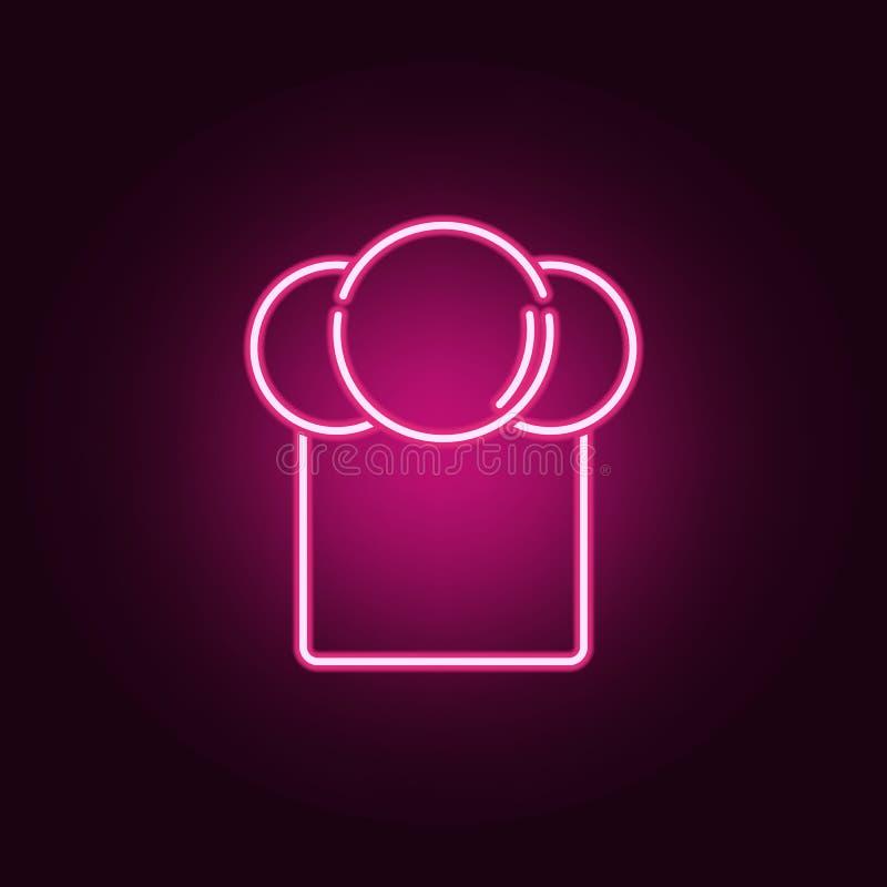 Значок шляпы шеф-повара неоновый Элементы набора кухни r бесплатная иллюстрация