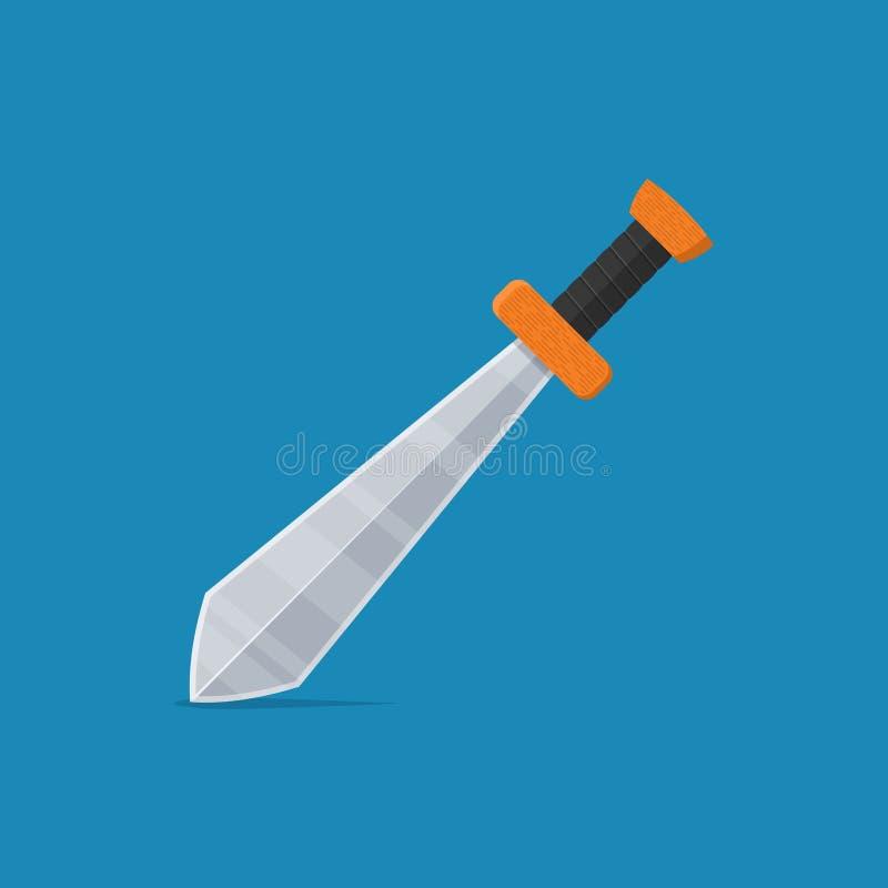 Значок шпаги в плоском стиле изолированный на голубой предпосылке armourer иллюстрация вектора