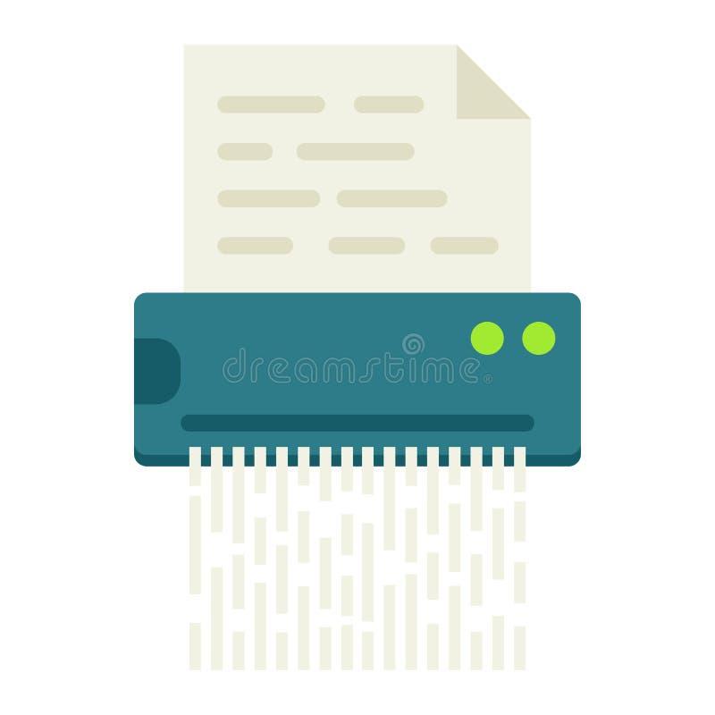 Значок шредера документа плоский, разрушает файл иллюстрация штока
