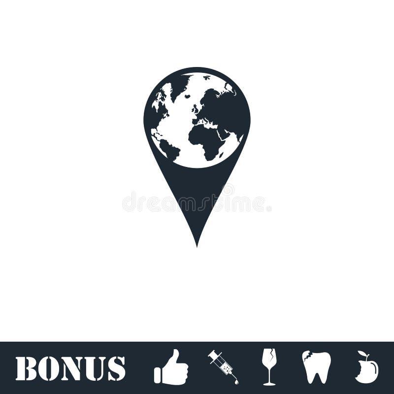 Значок штыря глобуса плоско иллюстрация штока