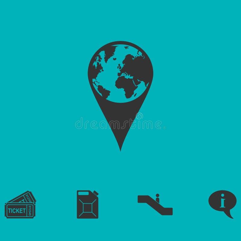 Значок штыря глобуса плоско бесплатная иллюстрация