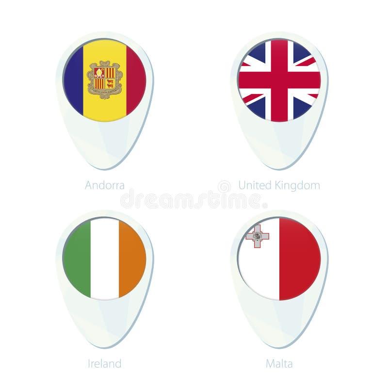 Значок штыря карты положения флага Андорры, Великобритании, Ирландии, Мальты иллюстрация штока
