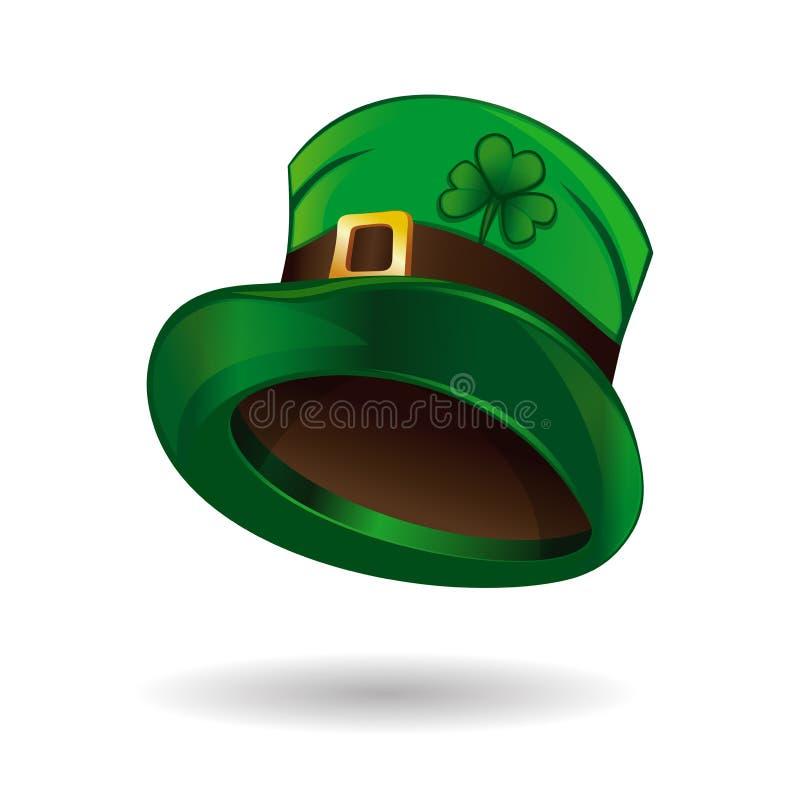 Значок шляпы лепрекона Зеленая шляпа лепрекона с пряжкой золота и клевер листают бесплатная иллюстрация