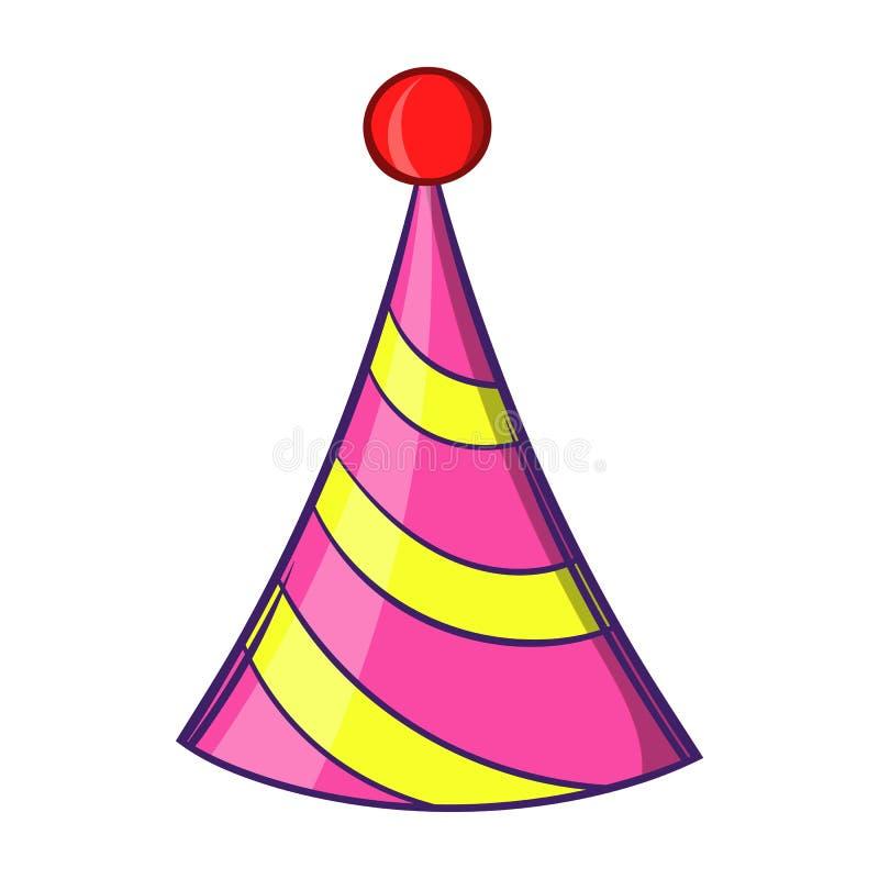 Значок шляпы партии, стиль шаржа иллюстрация вектора