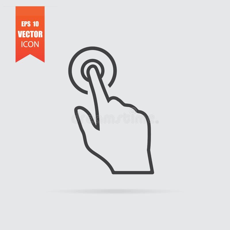 Значок щелчка руки в плоском стиле изолированный на серой предпосылке иллюстрация вектора