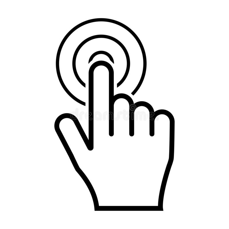 Значок щелчка руки изолированный на белой предпосылке бесплатная иллюстрация