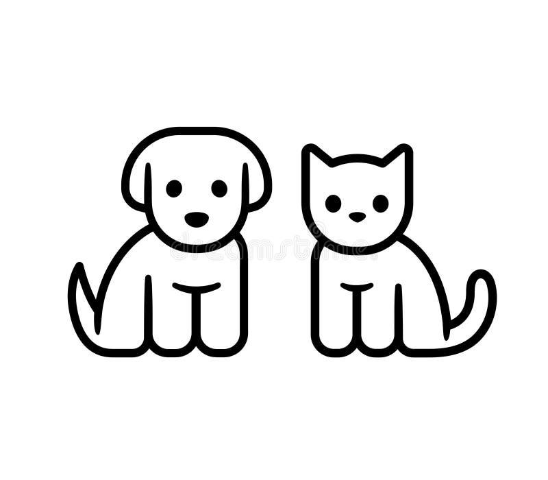Значок щенка и котенка иллюстрация вектора
