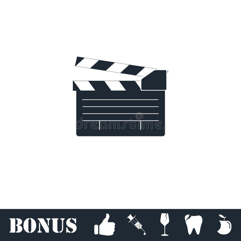 Значок щитка фильма плоско иллюстрация штока