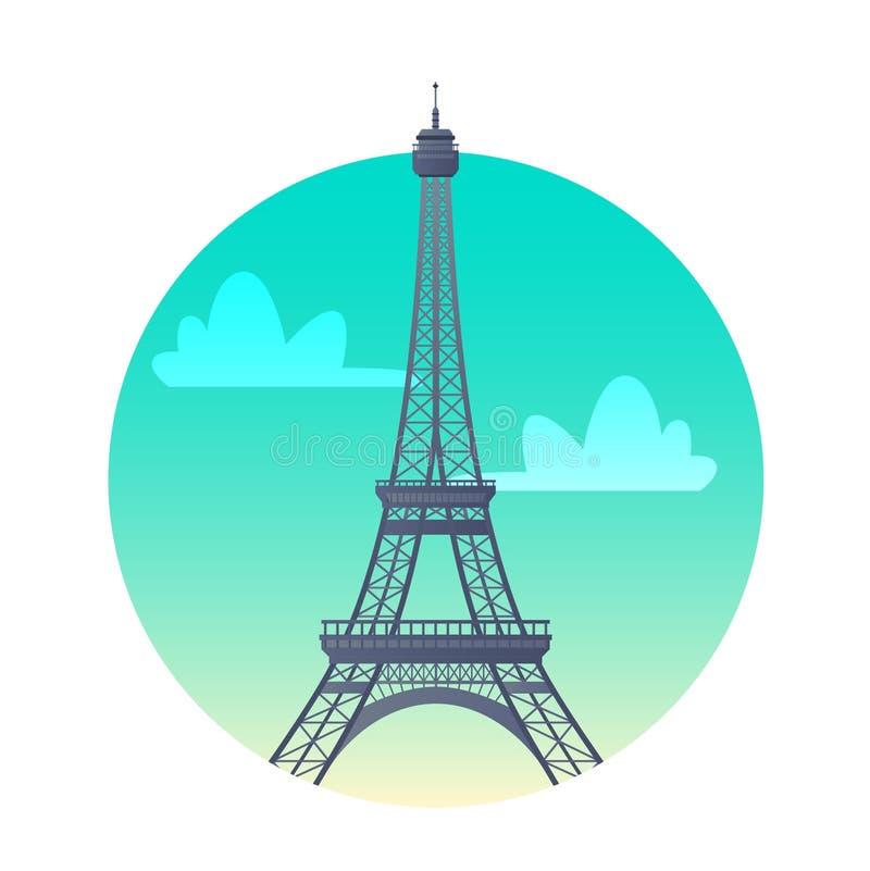 Значок Эйфелевой башни плоский Ориентир Парижа, Франции, исторических видимостей бесплатная иллюстрация
