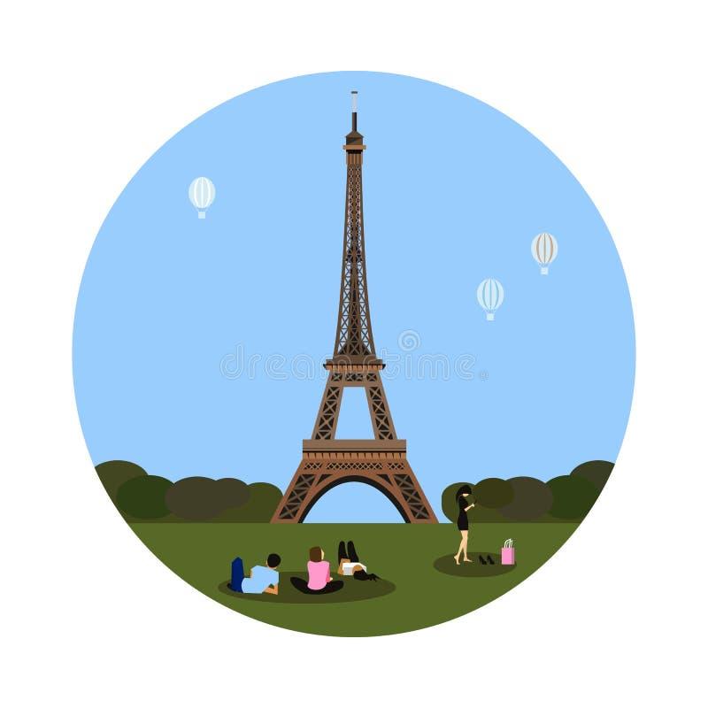 Значок Эйфелева башни Знак Парижа иллюстрация вектора