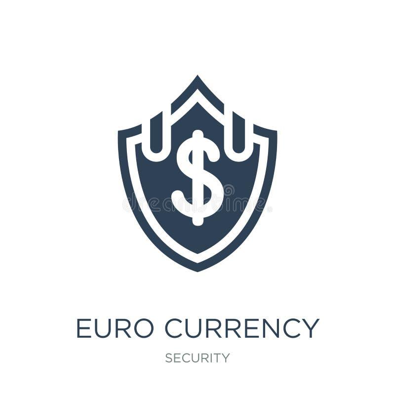 значок экрана безопасностью валюты евро в ультрамодном стиле дизайна значок экрана безопасностью валюты евро изолированный на бел иллюстрация штока