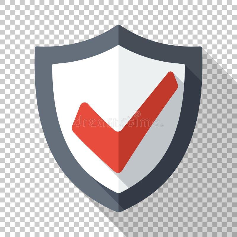 Значок экрана безопасностью с красной контрольной пометкой в плоском стиле на прозрачной предпосылке иллюстрация вектора