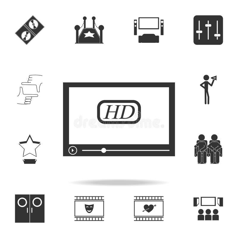 Значок экрана Комплект значков элемента кино Наградной качественный графический дизайн Знаки и значок для вебсайтов, des собрания иллюстрация штока