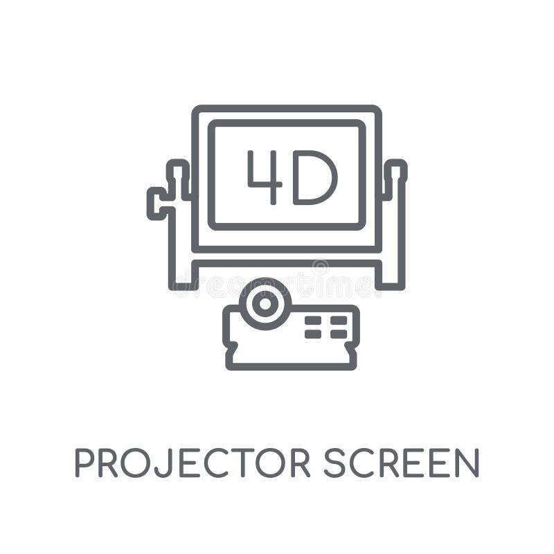 Значок экрана репроектора линейный Современное lo экрана репроектора плана бесплатная иллюстрация