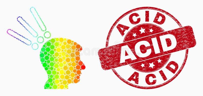 Значок экспериментальной головной части Pixelated вектора покрашенный радугой и поцарапанный кисловочный водяной знак бесплатная иллюстрация