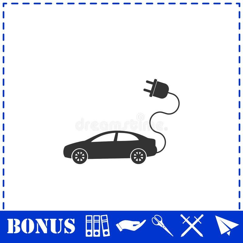 Значок электрического автомобиля плоско иллюстрация вектора