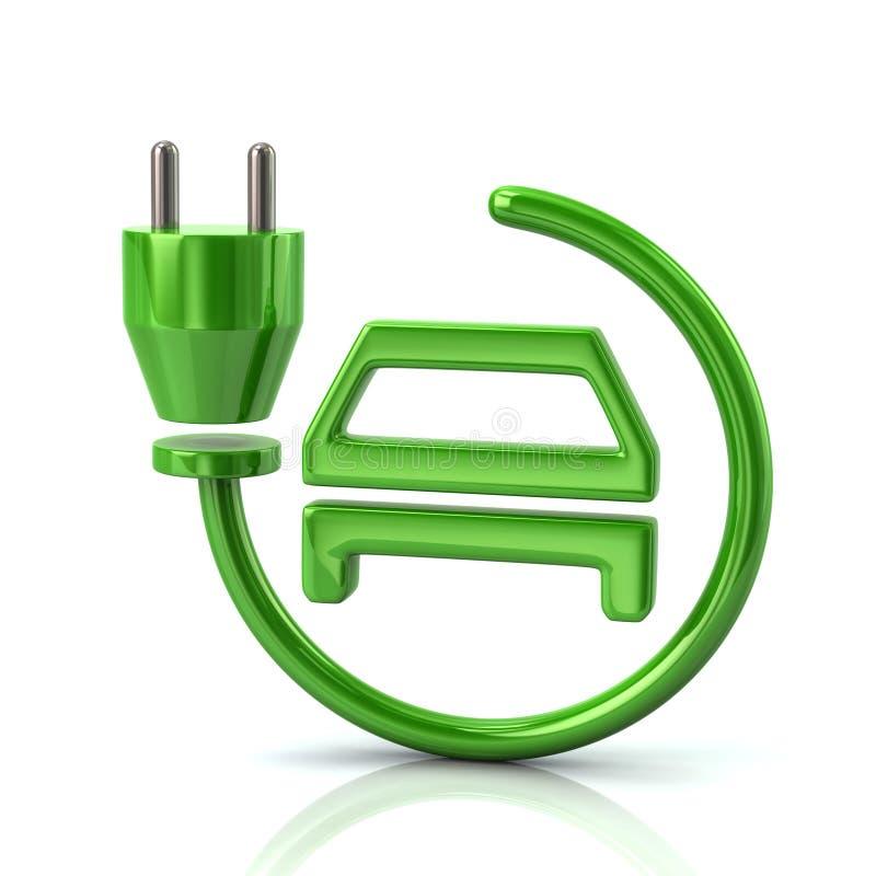 Значок электрического автомобиля поручая паркуя зеленый бесплатная иллюстрация