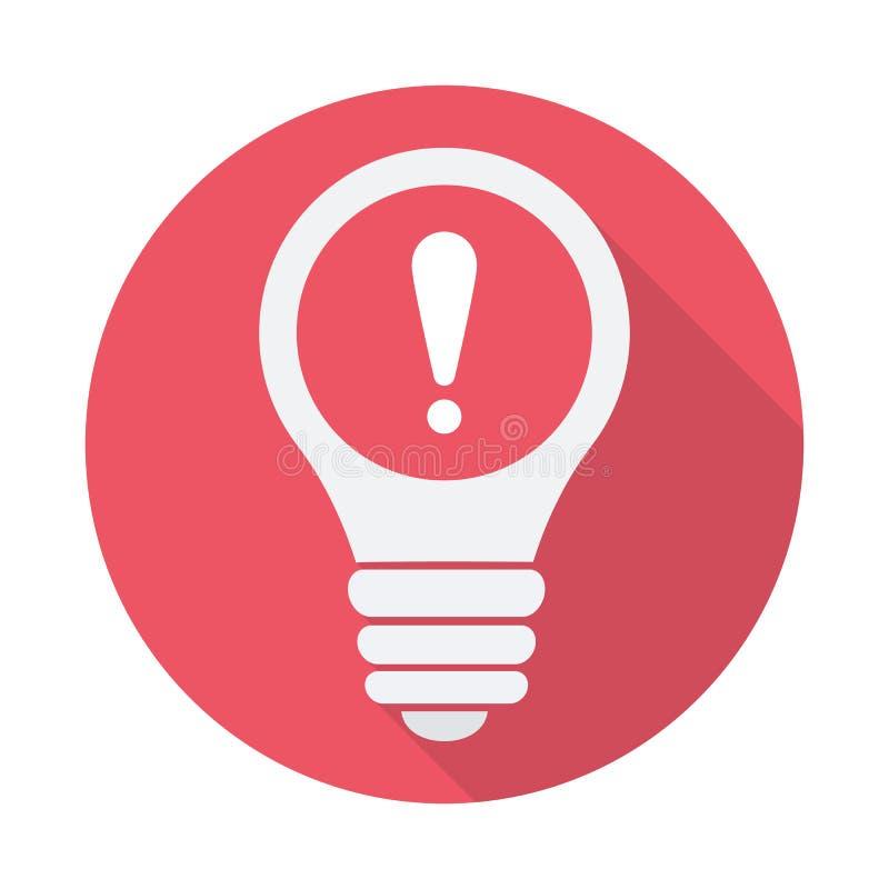 Значок электрической лампочки, идея, решение, думая значок с восклицательным знаком Значок электрической лампочки и сигнал тревог бесплатная иллюстрация