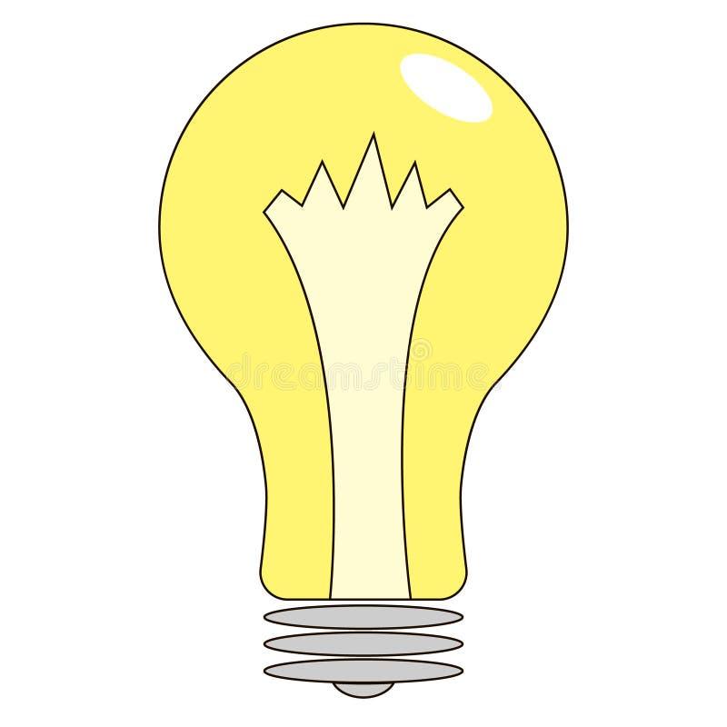 Значок электрической лампочки, изолированный на белой предпосылке иллюстрация штока