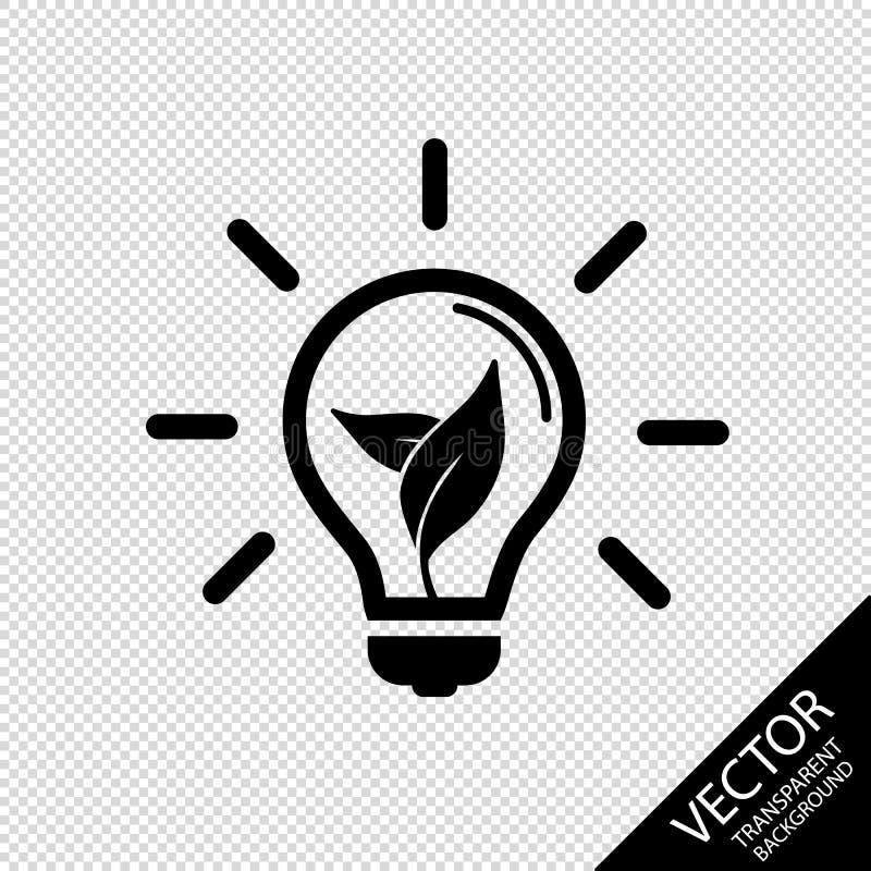 Значок электрической лампочки - концепция естественных источников энергии - иллюстрация вектора - Isolatet на прозрачной предпосы иллюстрация штока