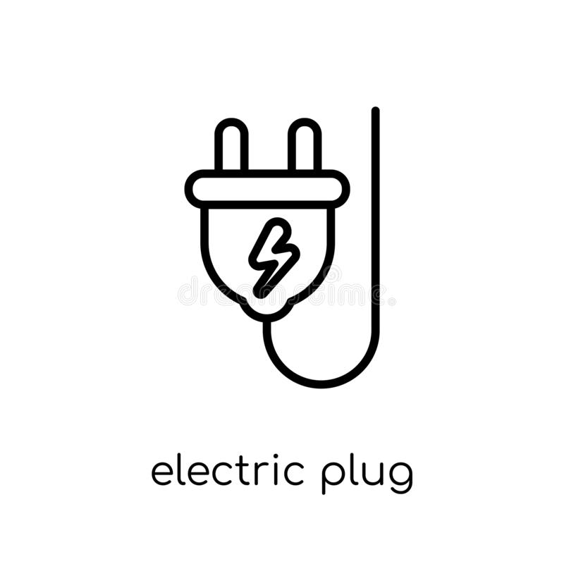 Значок электрической штепсельной вилки Ультрамодный современный плоский линейный вектор электрический pl иллюстрация вектора