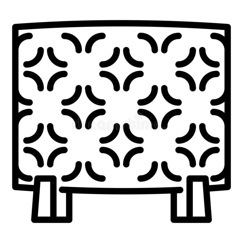 Значок электронагревателя дома, стиль плана иллюстрация вектора