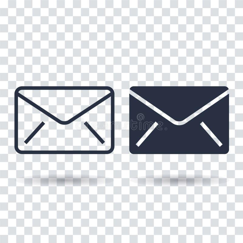 Значок электронной почты плоский Значок электронной почты плана иллюстрация вектора