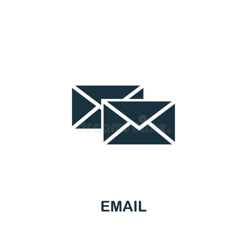 Значок электронной почты творческий Простая иллюстрация элемента Дизайн символа концепции электронной почты от контакта мы собран бесплатная иллюстрация