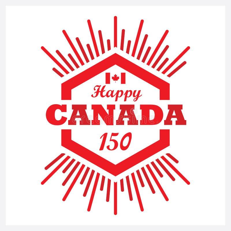 Значок эмблемы Канады 150 красного шестиугольника счастливый с солнечным лучом иллюстрация вектора