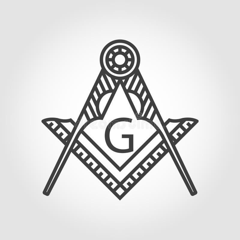 Значок эмблемы масонства вектора серый masonic иллюстрация вектора