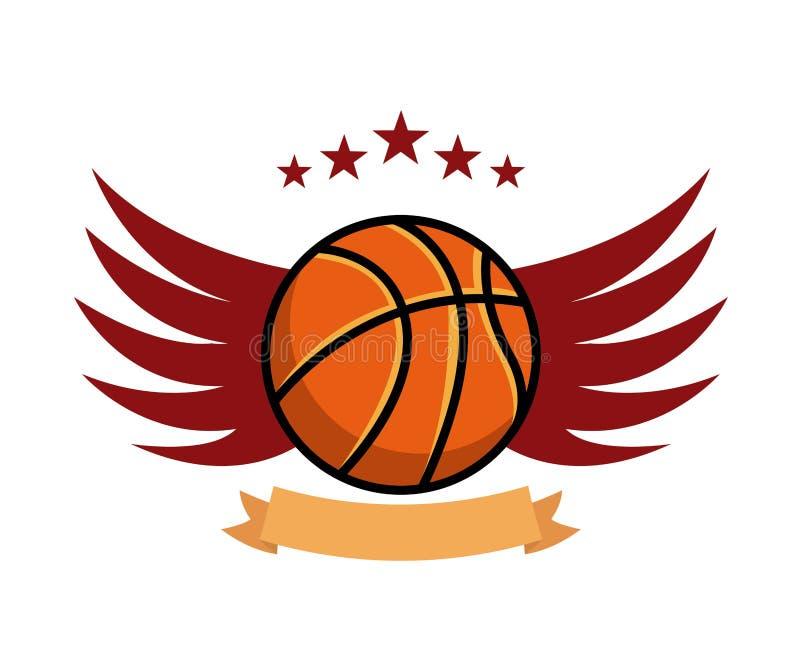 значок эмблемы спорта баскетбола иллюстрация вектора