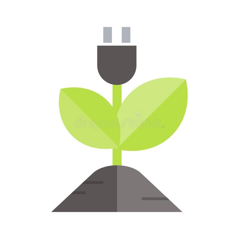 Значок энергии завода Плоской вектор покрашенный иллюстрацией изолировал значки Eco очищает зеленую энергию для сети бесплатная иллюстрация