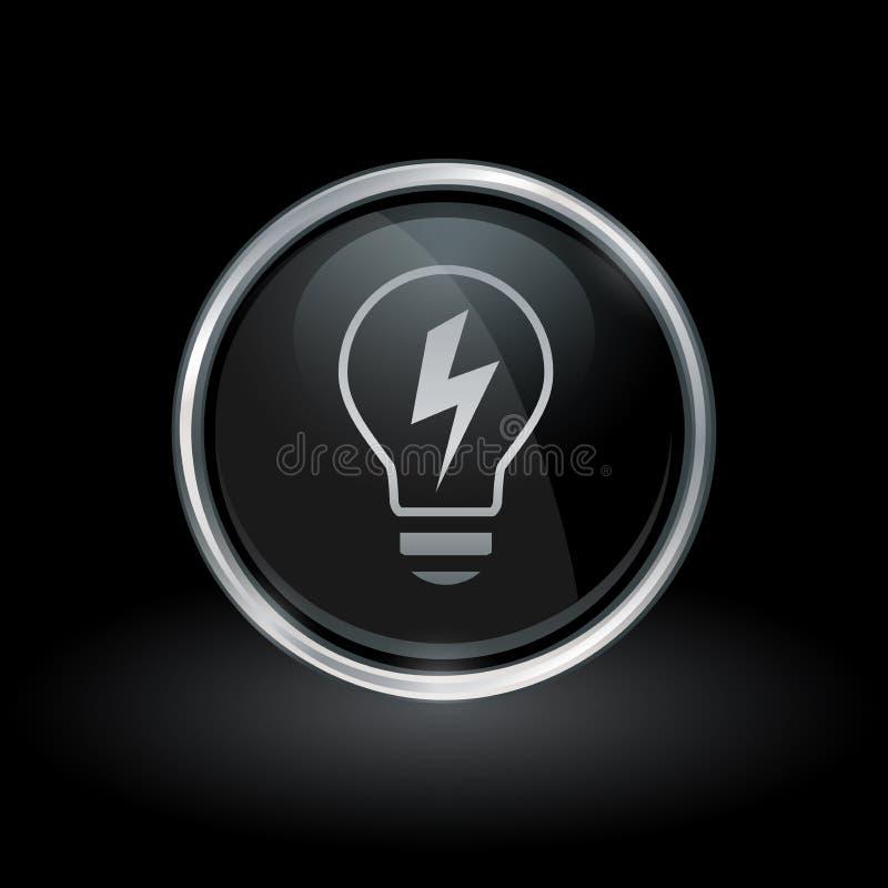 Значок энергии электричества лампочки внутри круглого серебра и черной эмблемы иллюстрация штока