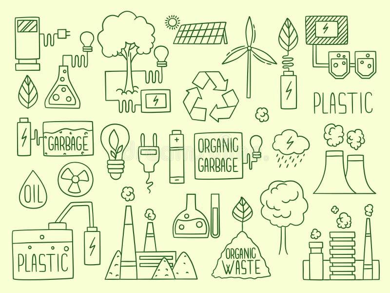 Значок 'Энергия' Электричество природный аккумулятор перерабатывает элементы завод производство вода энергия глобус топливный век бесплатная иллюстрация