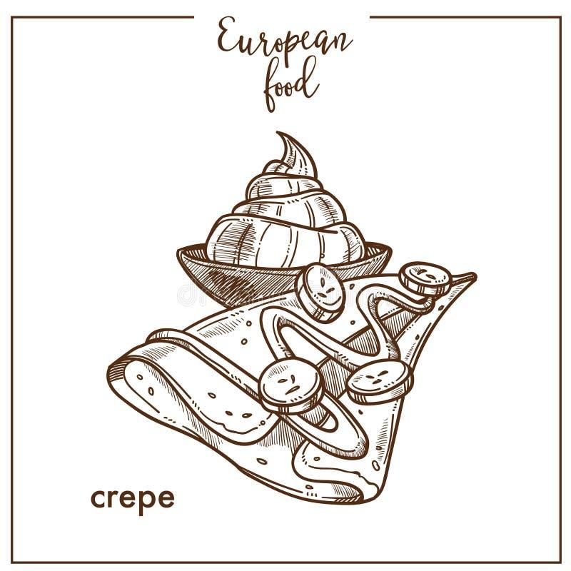 Значок эскиза блинчика Crepe для европейского французского дизайна десертного меню кафа кухни еды бесплатная иллюстрация