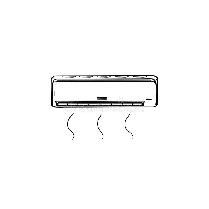 Значок эскиза кондиционера воздуха нарисованный рукой иллюстрация штока